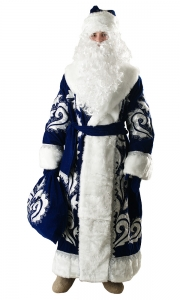 Костюм Деда Мороза бархат с вышивкой синий