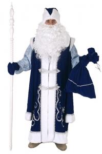 Костюм Деда Мороза с рубахой синий