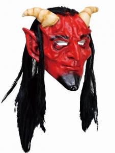 Маска Дьявола красная с белыми рогами
